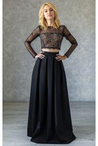 Длинная нарядная юбка в складку черная фото