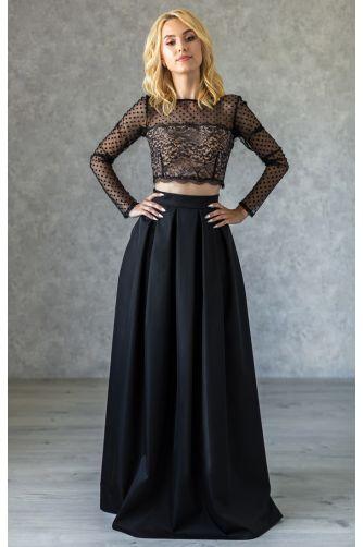 Длинная нарядная юбка в складку черная в Киеве - Фото 1