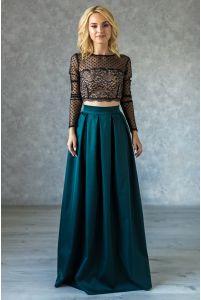 Длинная нарядная юбка в складку изумрудная фото