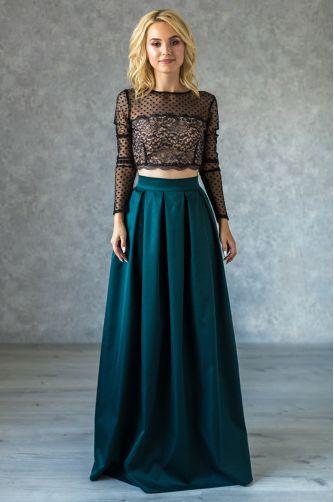 Длинная нарядная юбка в складку изумрудная в Киеве - Фото 1