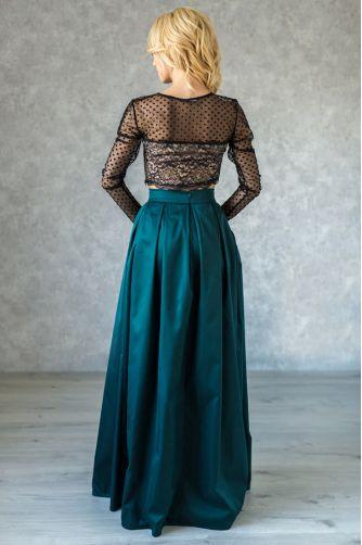 Длинная нарядная юбка в складку изумрудная в Киеве - Фото 2