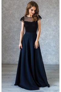 Длинная синяя юбка фото