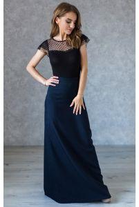 Длинная синяя юбка А-силуэта фото