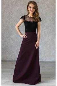 Длинная винная юбка А-силуэта фото