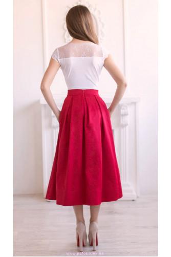 Красная юбка ниже колена в Киеве - Фото 3