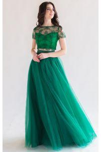 Пышная длинная юбка изумрудная фото