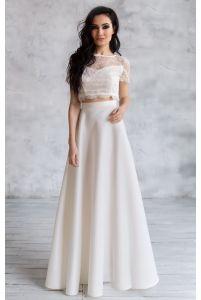 Расклешенная длинная юбка айвори фото