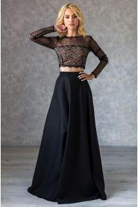 Расклешенная длинная юбка черная фото