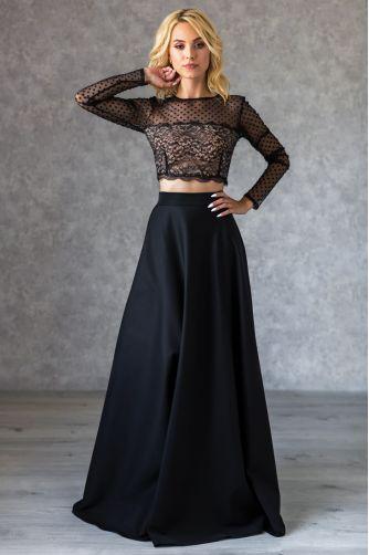 Расклешенная длинная юбка черная в Киеве - Фото 1