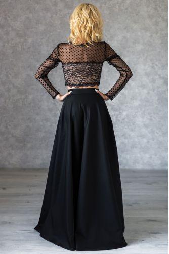 Расклешенная длинная юбка черная в Киеве - Фото 2