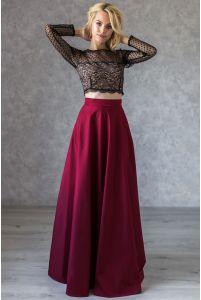 Расклешенная длинная юбка марсала фото