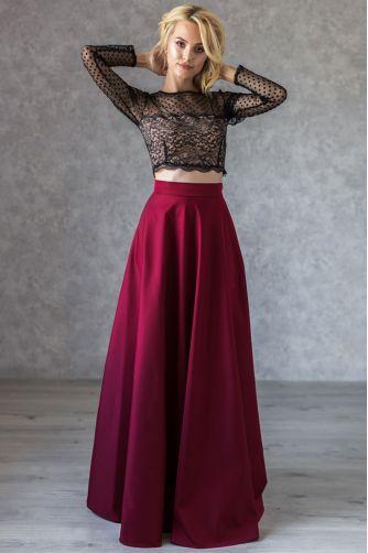 Расклешенная длинная юбка марсала в Киеве - Фото 1