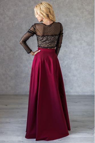 Расклешенная длинная юбка марсала в Киеве - Фото 2