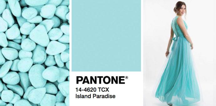 Фото цвета островной рай пантон для платьев от магазина женской одежды Пафос