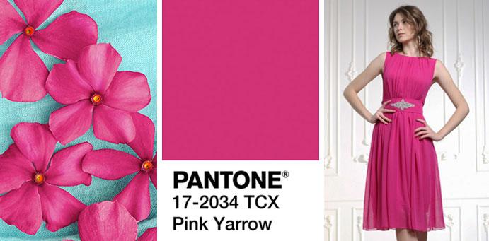 Фото цвета розовый тысячелистник пантон для платьев от магазина женской одежды Пафос