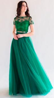 Фото изумрудной юбки в пол с топом от ТМ Renie