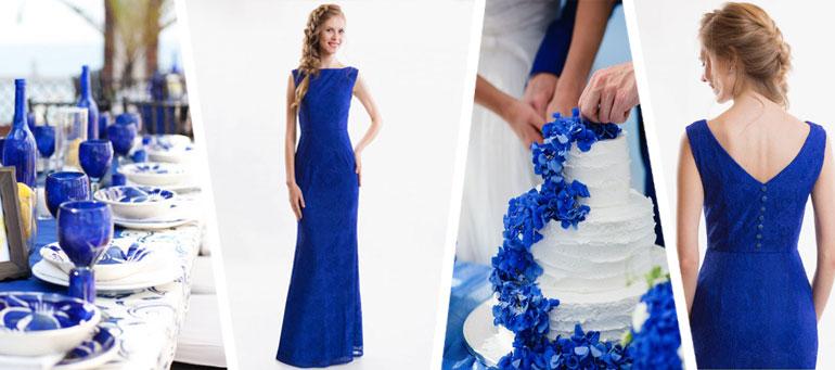 Фотографии вечерних платьев на свадьбу в синем цвете