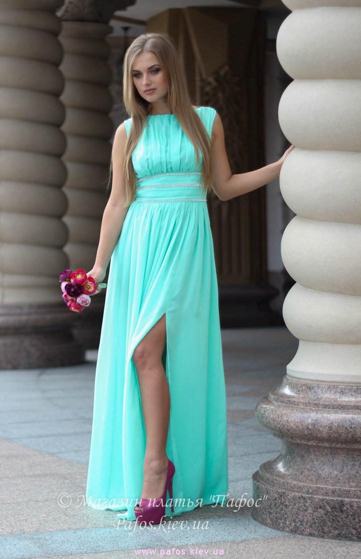 aa459e8381b Длинное мятное платье купить (Киев и Украина)