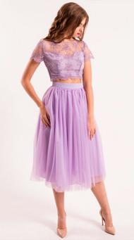 Фото сиреневого коктейльного платья на выпускной