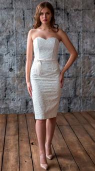 Фото белого коктейльного свадебного платья