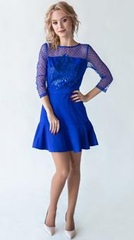 Фото коктейльного платья в клуб синего цвета