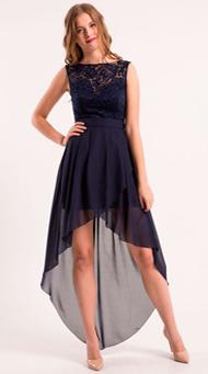 Фото коктейльногодлинного платья с ассиметрией