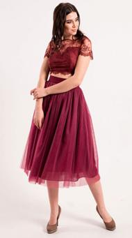 Фото коктейльного платья на выпускной цвета марсала