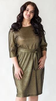 Фото коктейльного платья для полных цвета хаки с золотом